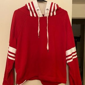 White and Red crop hoodie